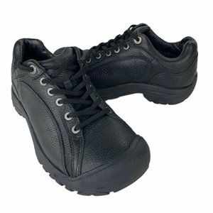 Keen Womens Briggs II Black Leather Oxford Shoes